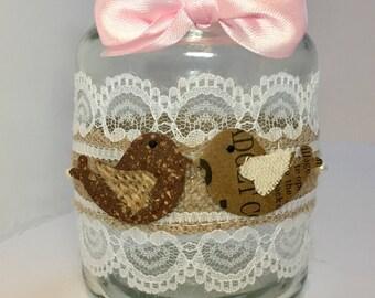 Love birds with pearl flourish jar