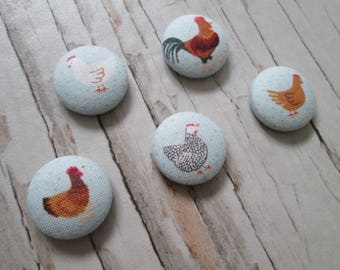 Chicken print fridge magnets, gift, farm, magnets set, new home gift, housewarming, fridge magnets, farm lover gift, chicken lover gift