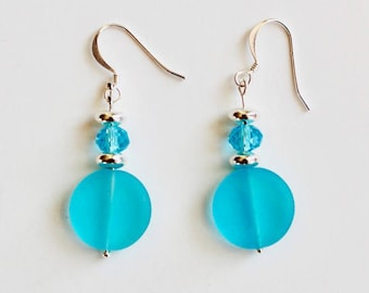 Blue Sea Glass Disc Earrings with Swarovski Crystal and Silver Accents
