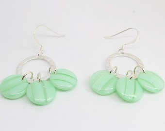 Sterling Silver Hammered Hoops with Three Czech Glass Beads in Seafoam