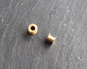 Set of 6 small spacer spool 7 x 4.5 mm / Spacer barrel cylinder tube raw brass findings, creative sewing notions, DIY jewelry
