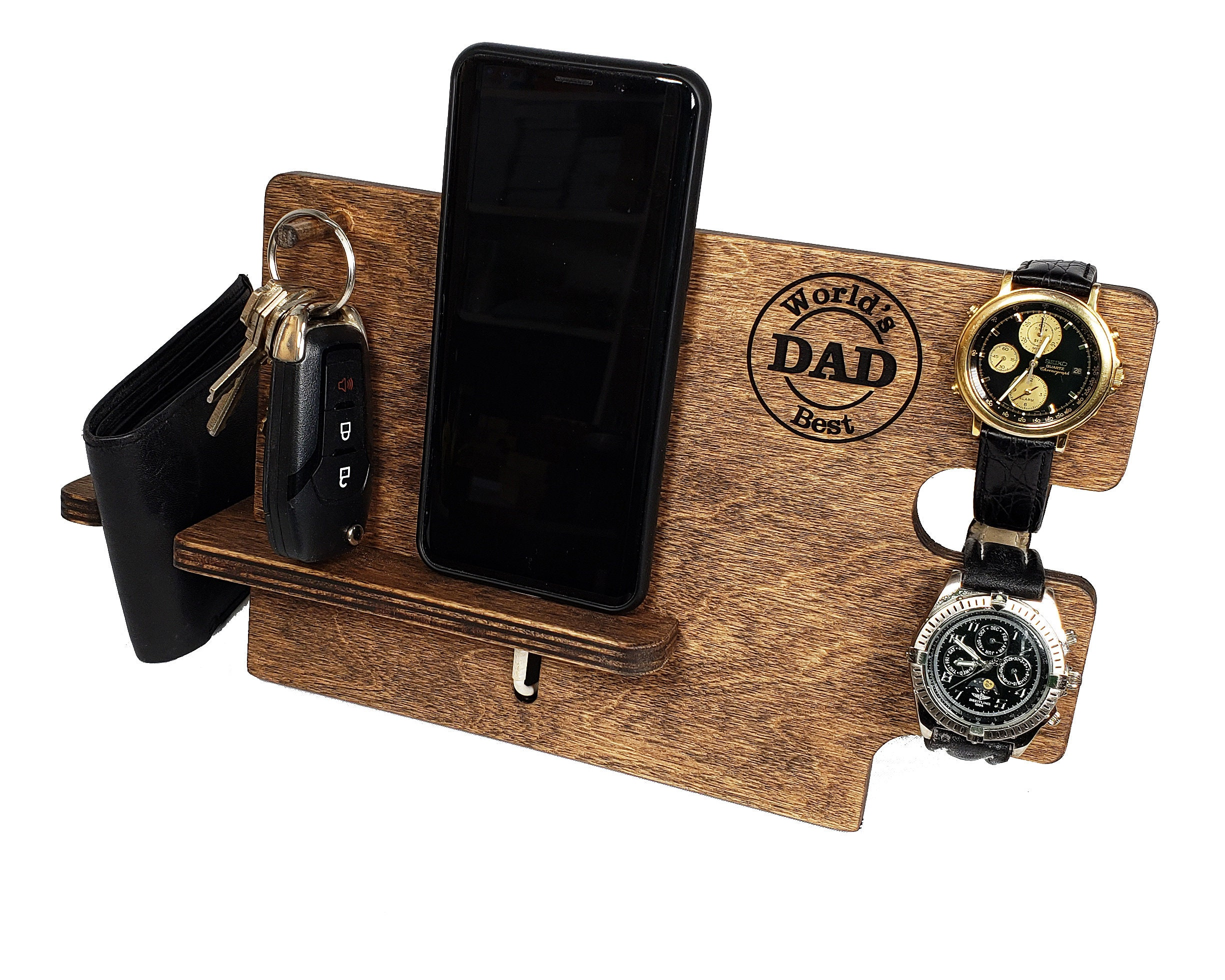 Docking Station For Men Wood Nightstand Organizer Fathers Day Gift Desk Organizer Phone Stand Charging Station Watch Stand