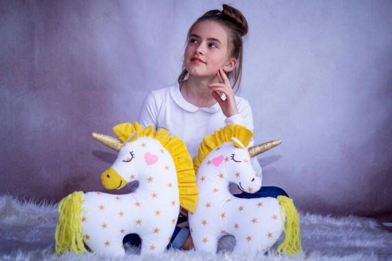 Unicorn pillow soft toy Stuffed white unicorn lover Magic princess room decor From grandma to granddaughter Unicorn fan Christmas in July