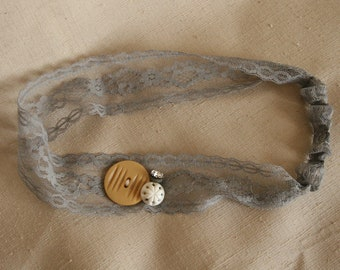 Gray Vintage Button & Floral Lace Headband - Goldenrod Yellow and White with Glitz