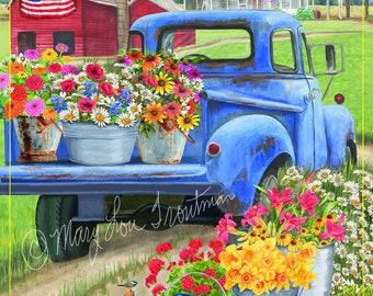 blue truck spring flowers