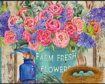farm fresh flowers doormat