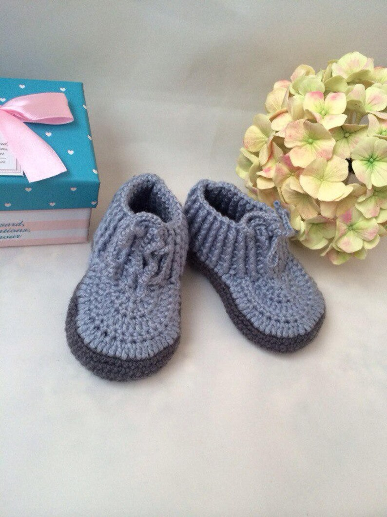 373fa11c12d25 Gray booties Little baby shoes Baby booties Baby boots Newborn booties Pram  shoes Crochet baby booties 3-6 month baby shoes Baby unisex shoe