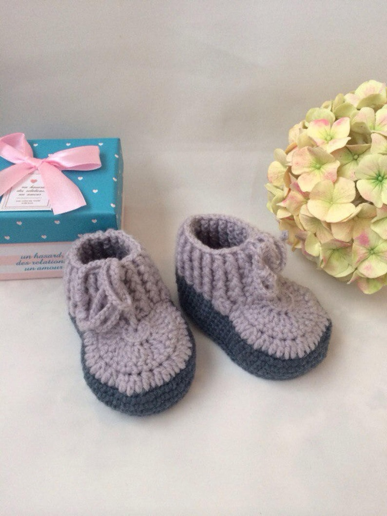 75046102ff9cd Gray booties Newborn booties Pram shoes Baby booties Crochet baby booties  3-6 month baby shoes Baby unisex shoes Little baby shoes