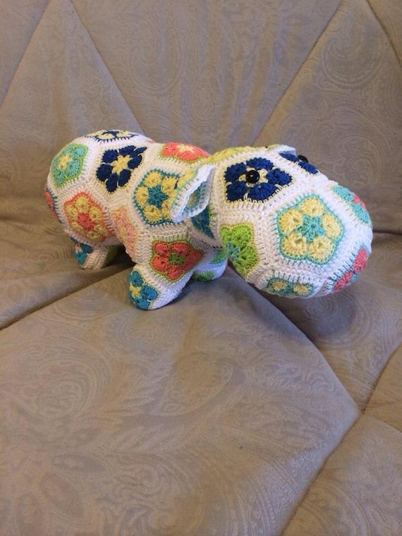 Häkeln Sie Spielzeug Nilpferd Afrikanische Blume Häkeln Etsy