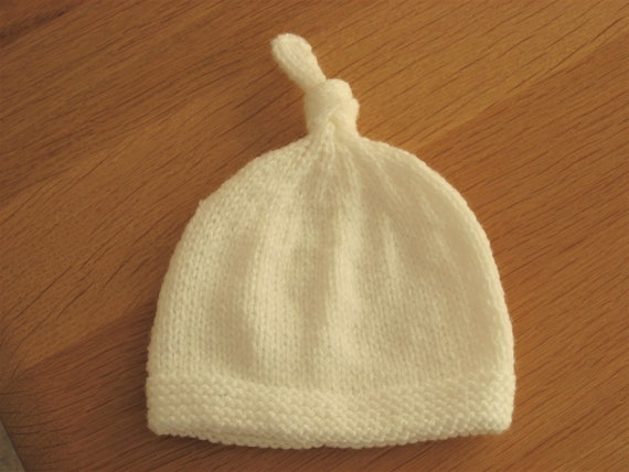 Hand Knitted Baby Bonnet Premature Size White