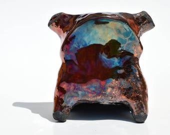 Raku Frog - Original Handmade Ceramic Art Sculpture