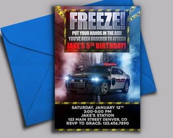 Police Car Birthday Invitation