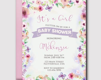 Flowers and Butterflies Girl Baby Shower Invitation