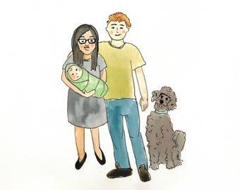 Custom family portrait with baby