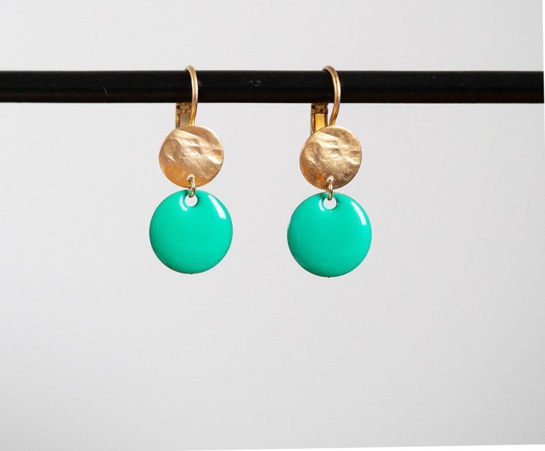original creation Earrings in golden brass with fine gold and enamelled sequins Handmade