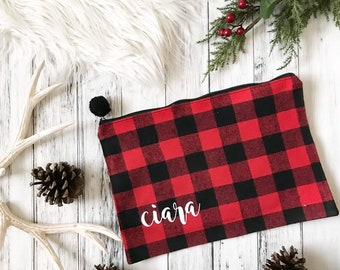 15f7fdb0d64b Large Buffalo Plaid Personalized makeup bag