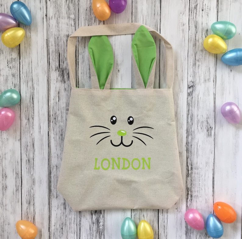 Easter Ears blue Bag Pink Kids Bunny Basket Baby Gift Egg Hunt Burlap Green Favors Personalized Easter Bunny Bags White