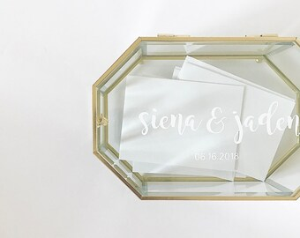 Personalized Geometric Glass Display Box, Wedding Card Box, Jewelry Box, Sister, Bride, Bridesmaid, Gift, Mother's Day, Couples, Best Friend