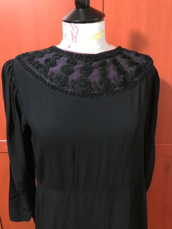 Black 1940s Dress with soutache Trim