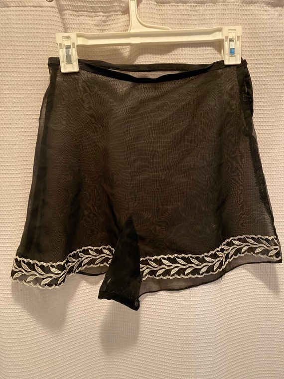 black embroidered tap pants
