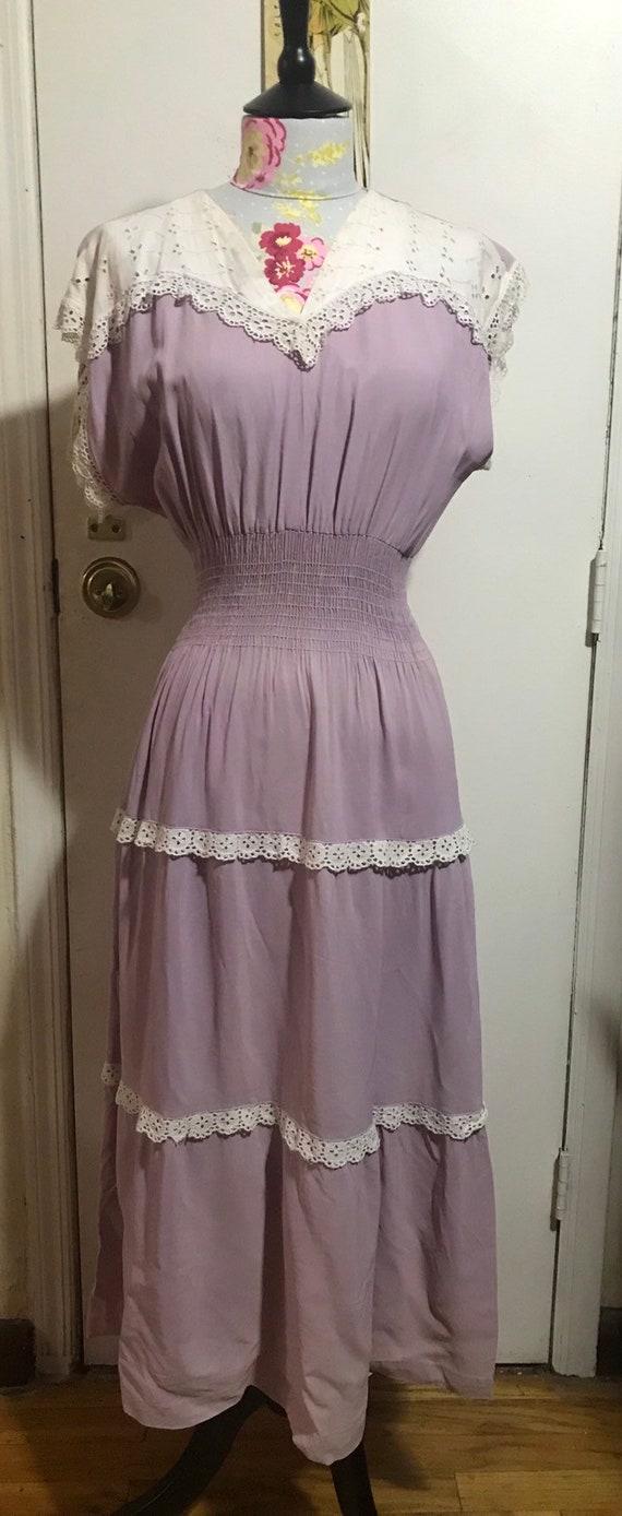 1940s smocked lavender dress