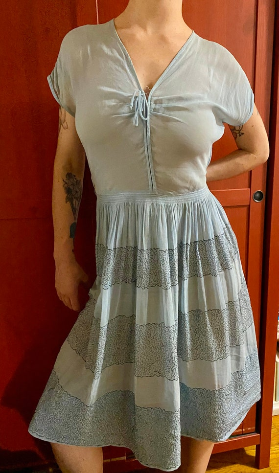 1950s blue L'Aiglon dress