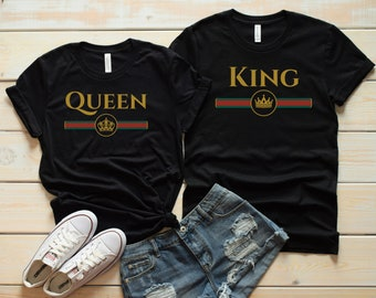 382763f7 Couple shirts, King and Queen, Queen shirt, King shirt, Gucci shirt, Matching  shirts, Matching tees, Couple gift, Anniversary Gift