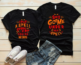 couples halloween shirts his and her tshirts matching costume husband wife t shirts get back witch im not a witch im your wife set