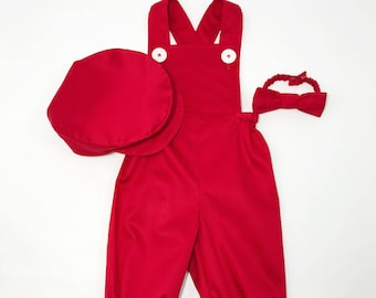 Boy Valentines Day Red Overalls
