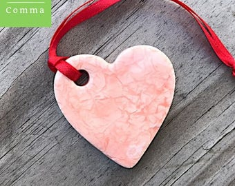 Ceramic heart ornament or tag, glazed light pink, handmade clay hanging heart decoration, Mother's Day gift, wedding favor, keepsake