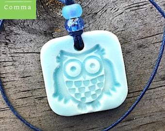 Ceramic owl pendant charm, glazed light blue, handmade stamped clay necklace, kids childrens jewelry, keepsake, pottery gift, porcelain tag