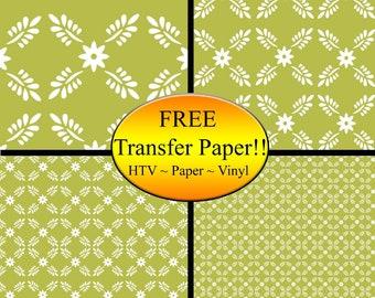 Peach Flowers Leaves Pattern Printed Heat Transfer Vinyl Style