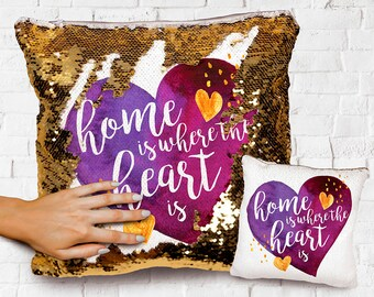 Home is where the heart is cushion cover 40 cm ~ Rustic country botanical//gift