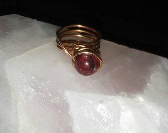 Jasper bead and Copper Ring
