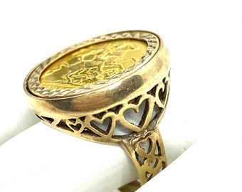 Z Free gift box *** BRAND NEW  *** 9ct Yellow Gold Half St George Ring Hallmarked Size N