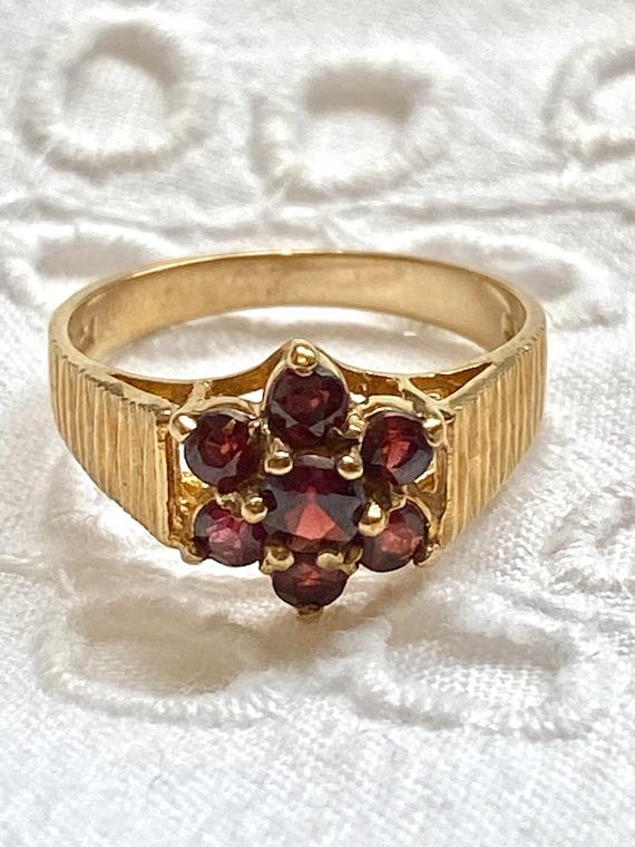 Vintage garnet 9k gold ring, English hallmark Lon… - image 1