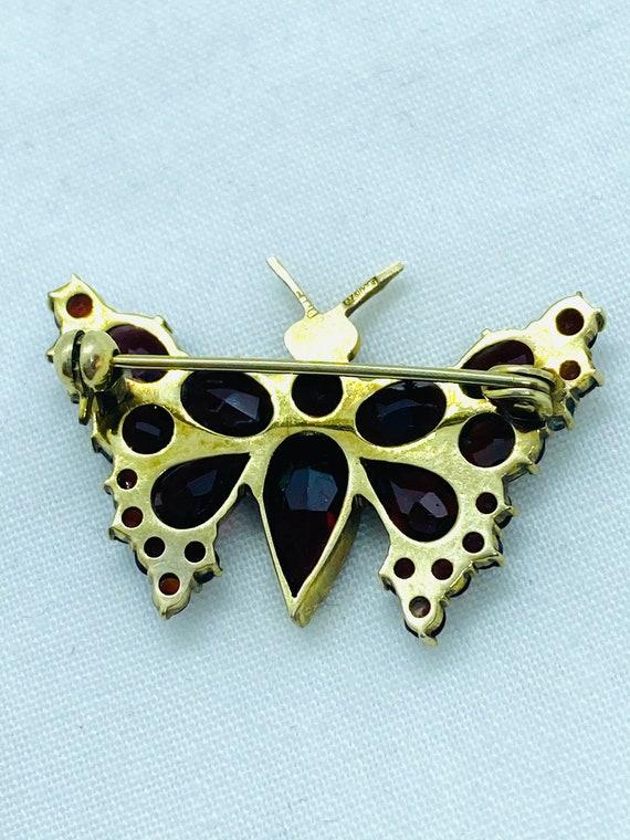 Vintage Bohemian Garnet butterfly brooch, 9k gold… - image 5