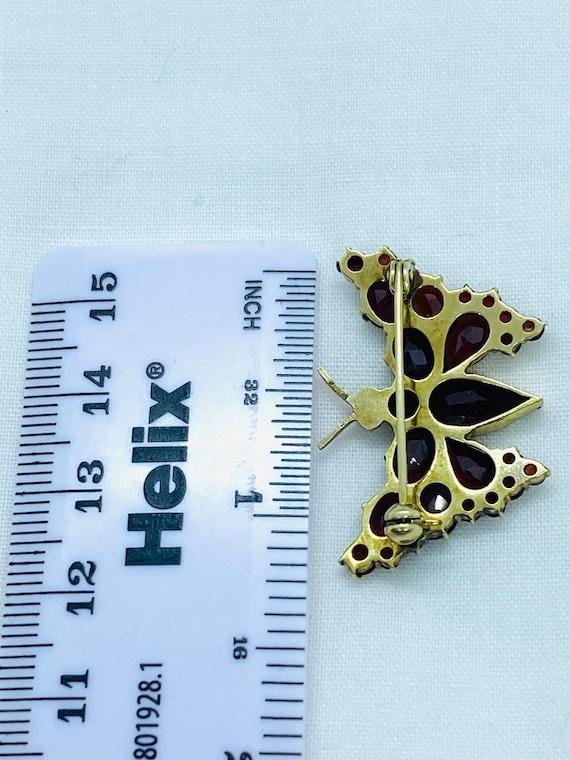 Vintage Bohemian Garnet butterfly brooch, 9k gold… - image 7