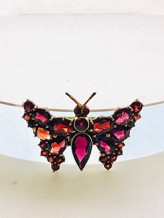 Vintage Bohemian Garnet butterfly brooch, 9k gold,