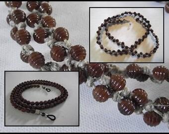 Cordon attache lunettes mixte en perles marron brun b3fc9d41f5e7
