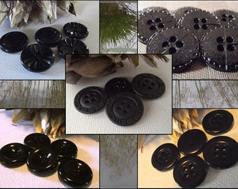 6 different buttons black 5 models * 18 mm * 1.8 cm black mat haberdashery button bright geometric leather