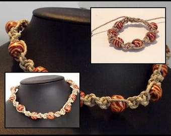 Ornament linen macramé & painted wood or crew neck or bracelet beads
