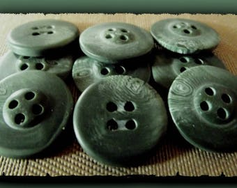 8 green KHAKI marble 18 mm * 2 hole buttons * 1.8 cm black button