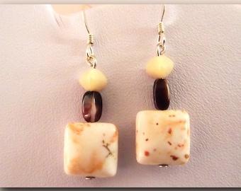 Loop ear square off white Howlite & glass Brown earring bead earring