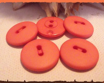 LOT 5 coral matte * 19 mm * 2 hole buttons * 1.9 cm * teal button 0.75 in