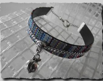 Weaving thread charm Cuff Bracelet Apple 20 cm or 21 cm closed blue gift holiday