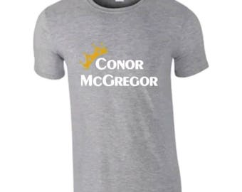 824edfbf Adults New Basic Graphic conor mcgregor/ boxing/ ufc/gold crown funny short  sleeve grey t-shirt/ tee