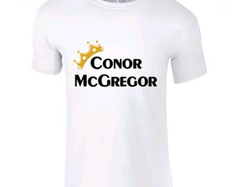 647e1ff0 Adults New Basic Graphic conor mcgregor/ boxing/ ufc/gold crown funny short  sleeve white t-shirt/ tee