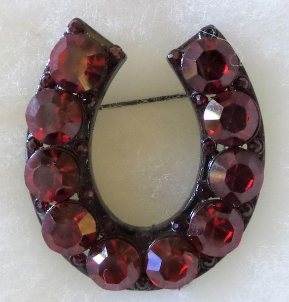 Vintage Horseshoe Red stone Brooch