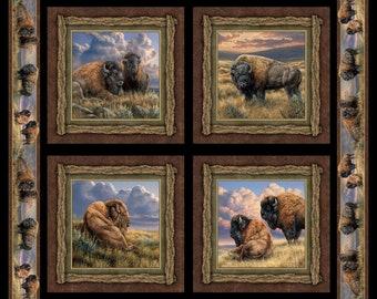 Buffaloes fabric panel, Bison Range pillow panel with border, digital print, 100% cotton